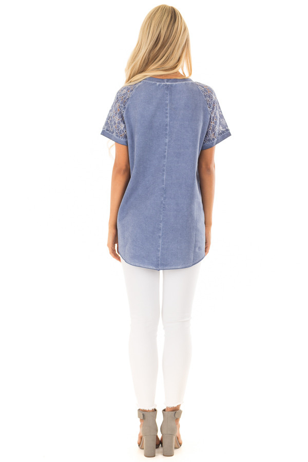 Indigo Mineral Wash Short Sleeve Top with Lace Sleeves back full body