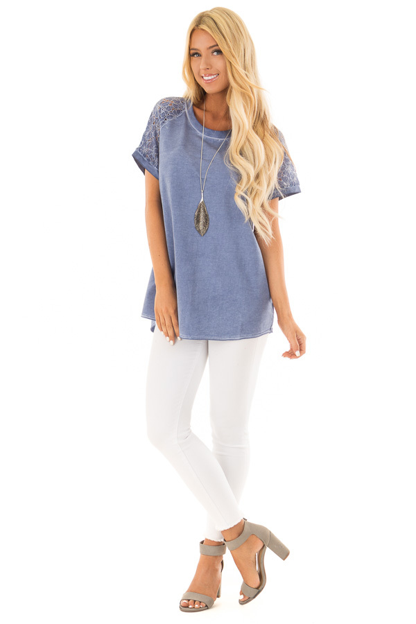 Indigo Mineral Wash Short Sleeve Top with Lace Sleeves front full body