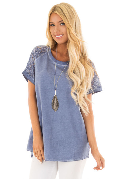 Indigo Mineral Wash Short Sleeve Top with Lace Sleeves front close up