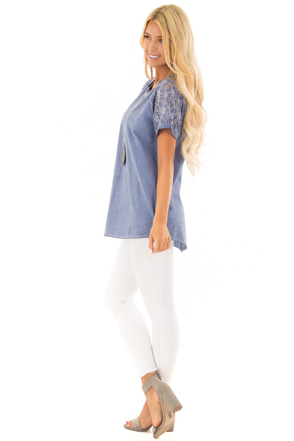 Indigo Mineral Wash Short Sleeve Top with Lace Sleeves side full body