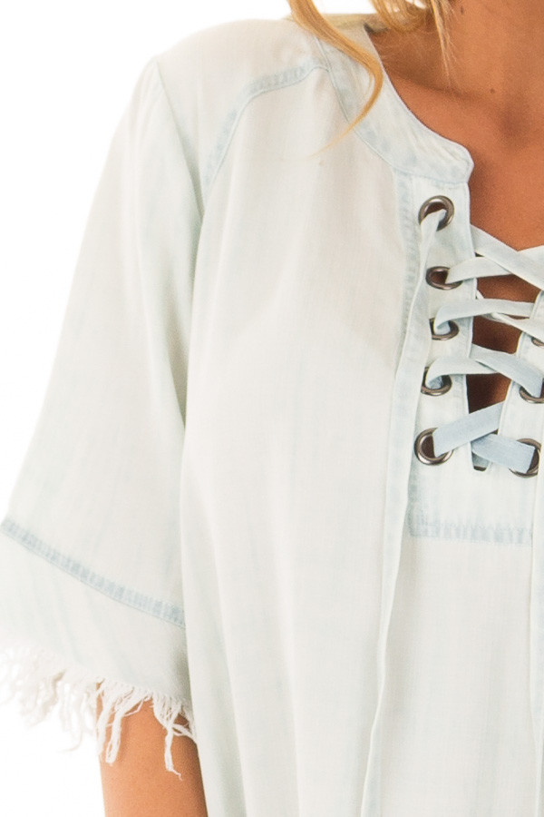 Light Denim Dress with Lace Up Neckline and Fringe Detail detail