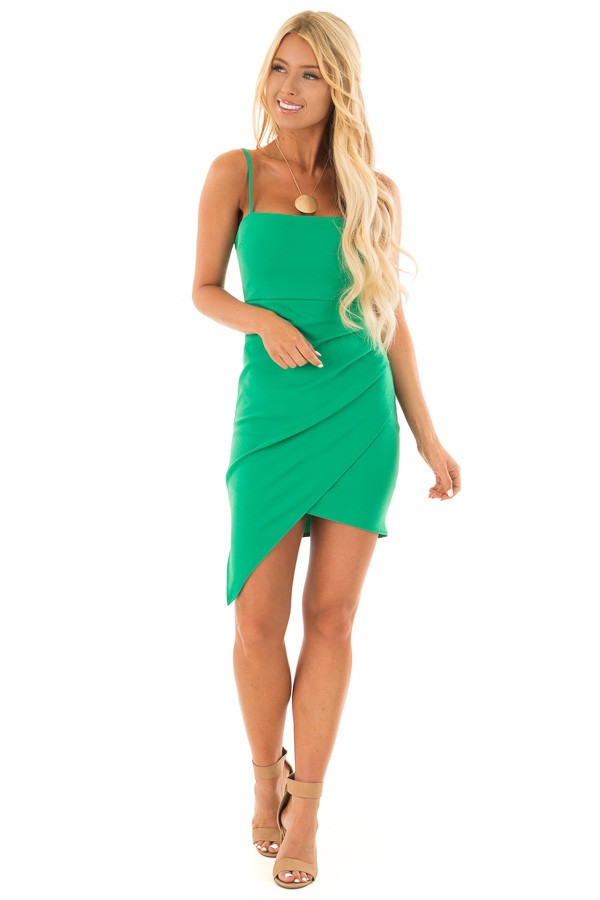Emerald Green Short Dress with Gathered Detail front full body