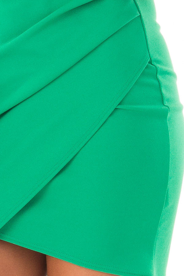 Emerald Green Short Dress with Gathered Detail detail