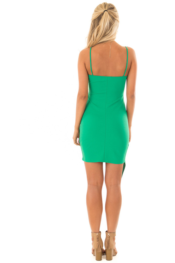 Emerald Green Short Dress with Gathered Detail back full body