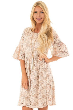 Beige Floral Lace Dress with Bell Sleeves front close up