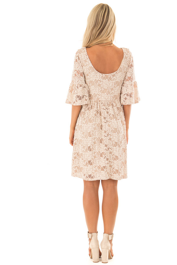 Beige Floral Lace Dress with Bell Sleeves back full body