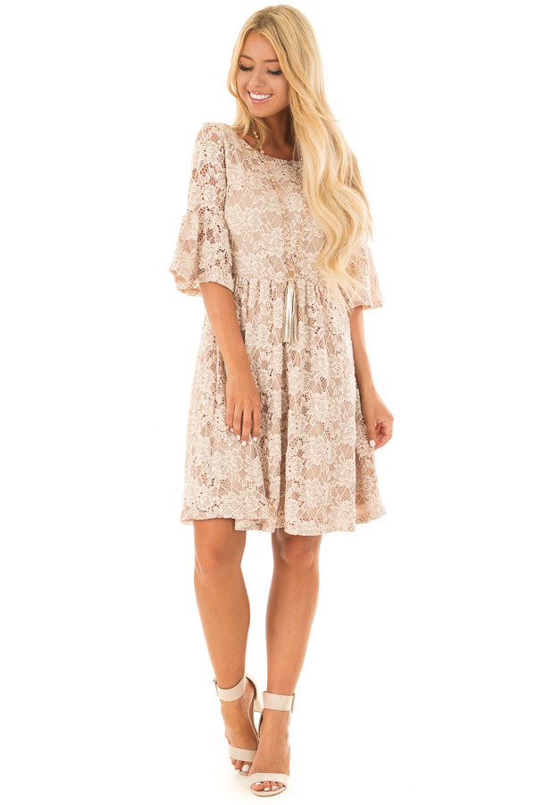 Beige Floral Lace Dress with Bell Sleeves front full body