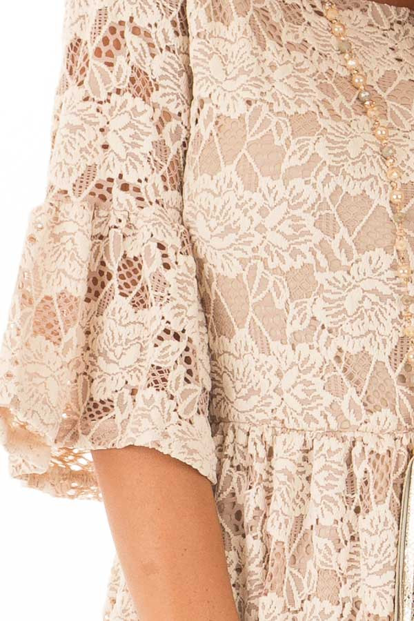 Beige Floral Lace Dress with Bell Sleeves detail