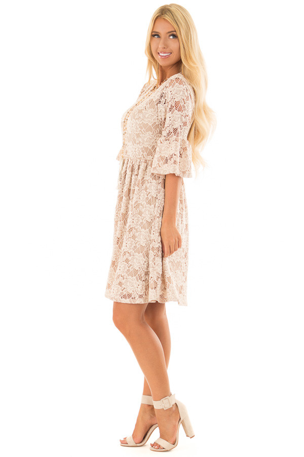 Beige Floral Lace Dress with Bell Sleeves side full body