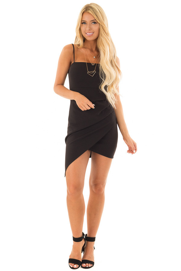 Black Short Dress with Gathered Detail front full body