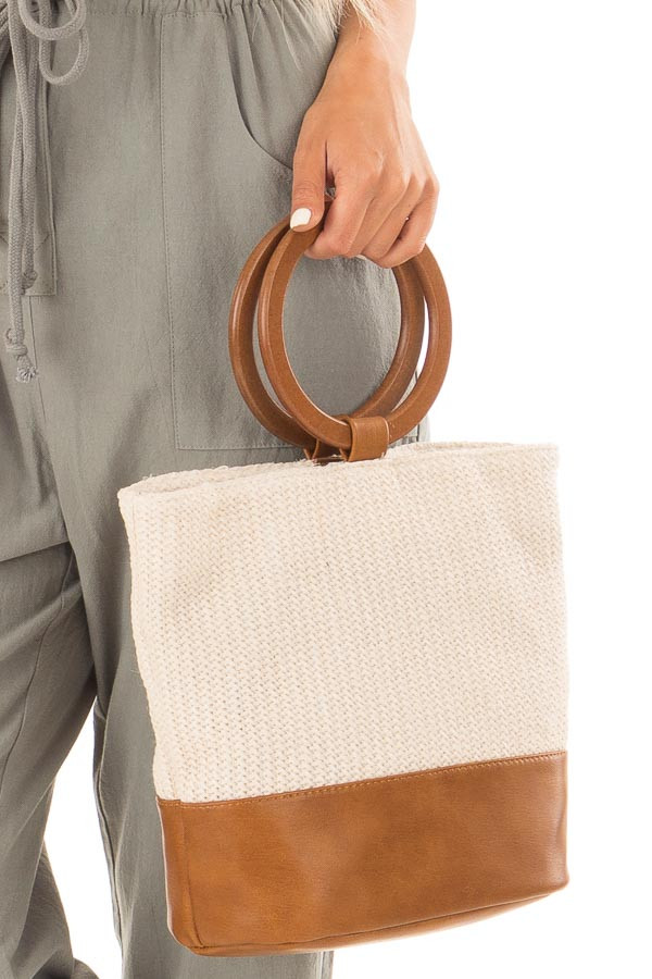 Beige and Tan Bag with Wooden Ring Handles detail