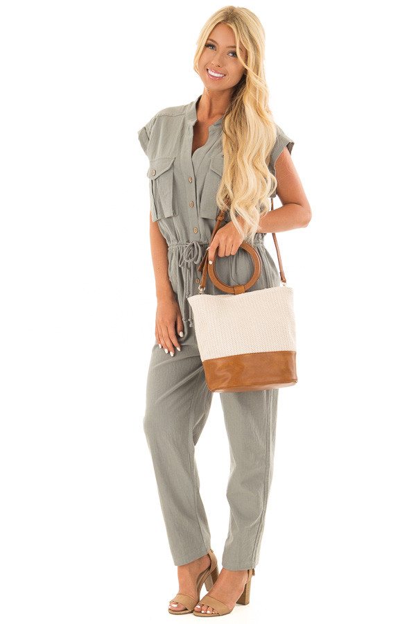 Beige and Tan Bag with Wooden Ring Handles front full body