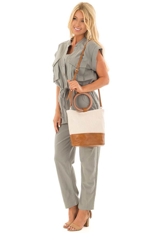 Beige and Tan Bag with Wooden Ring Handles side full body