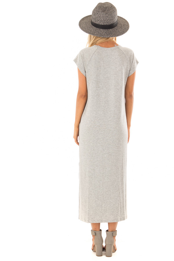 Heather Grey Cap Sleeve Comfy Dress with Side Slits back full body