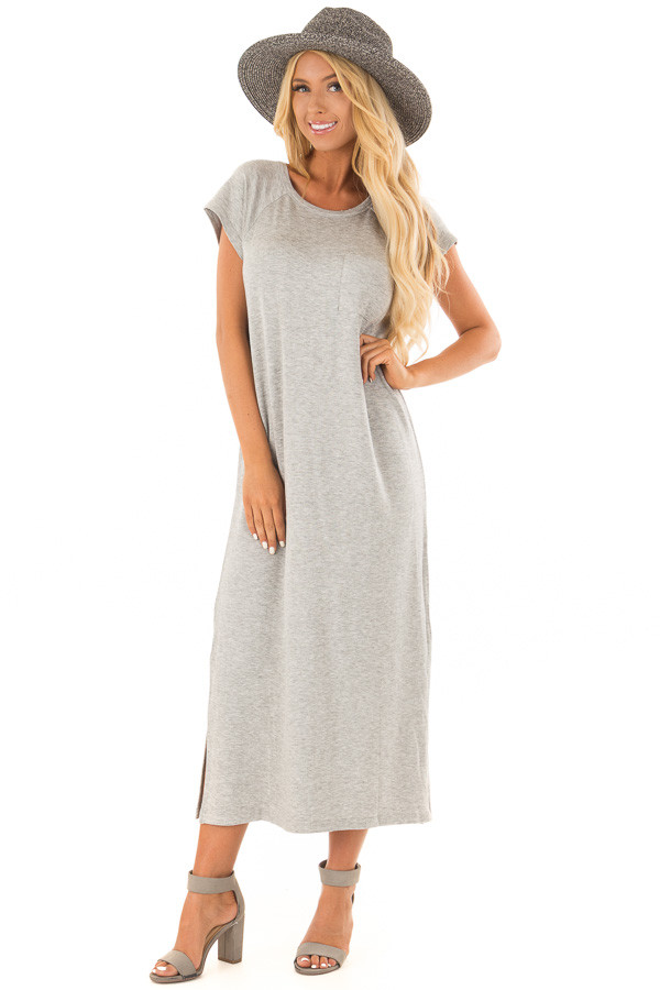Heather Grey Cap Sleeve Comfy Dress with Side Slits front full body