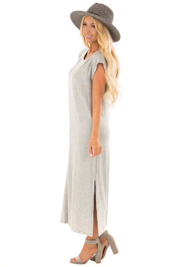 Heather Grey Cap Sleeve Comfy Dress with Side Slits side full body