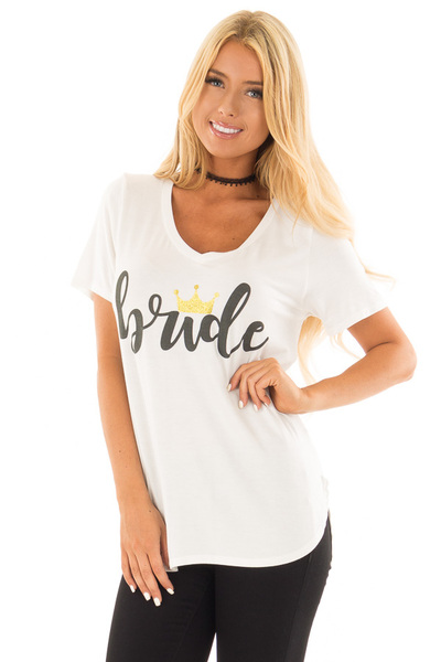 White 'Bride' Tee Shirt with Gold Sparkle Crown front close up