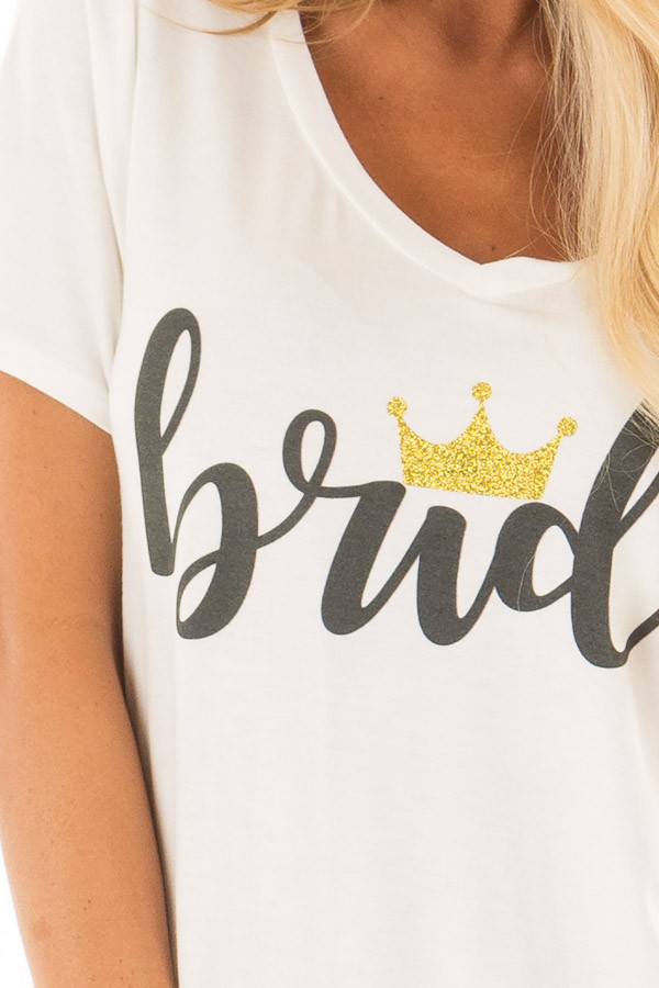 White 'Bride' Tee Shirt with Gold Sparkle Crown detail