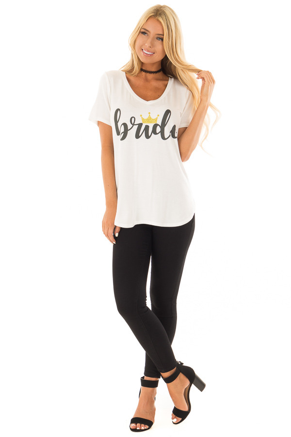 White 'Bride' Tee Shirt with Gold Sparkle Crown front full body