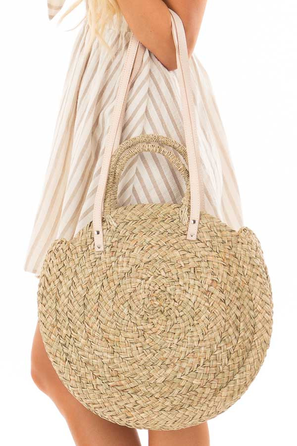 Natural Straw Circle Bag with Leather Straps detail