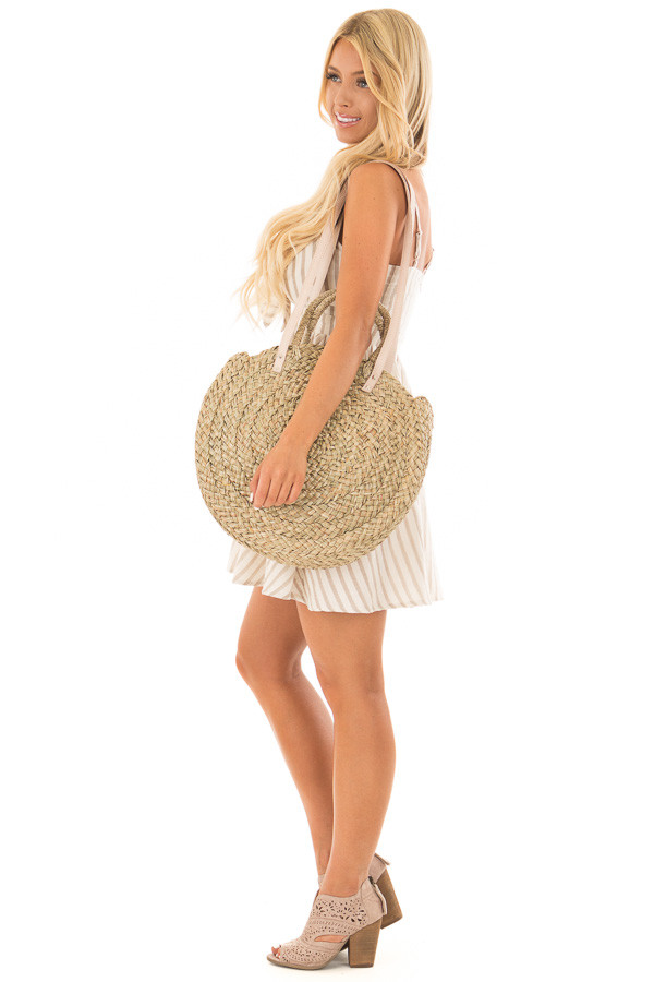 Natural Straw Circle Bag with Leather Straps side full body