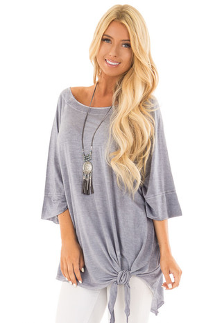 Stormy Blue Mineral Wash Oversized Top with Side Tie front close up