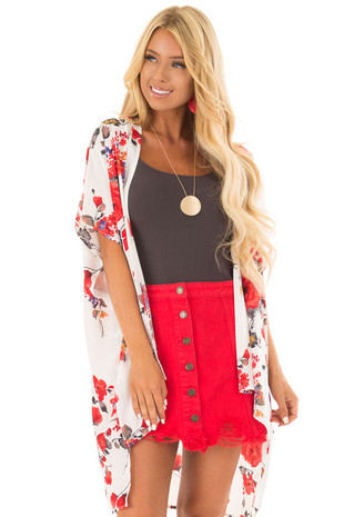 Ivory Floral Print Short Sleeve Kimono front full body