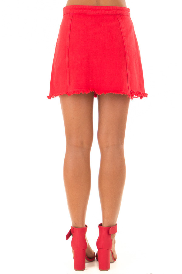 Candy Red Denim Button Up Mini Skirt with Distressed Hem back view