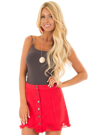 Candy Red Denim Button Up Mini Skirt with Distressed Hem front close up