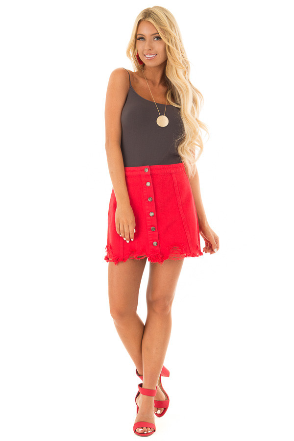Candy Red Denim Button Up Mini Skirt with Distressed Hem front full body
