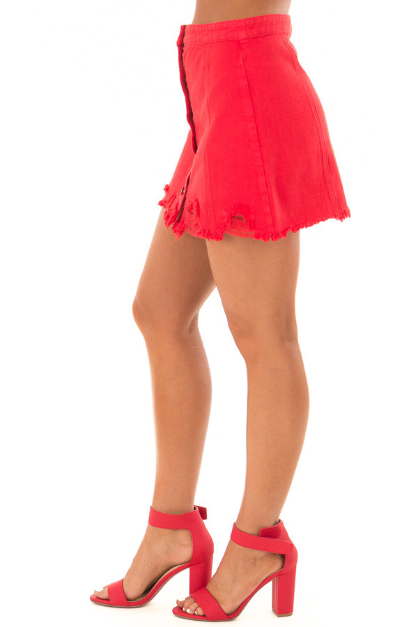 Candy Red Denim Button Up Mini Skirt with Distressed Hem side view