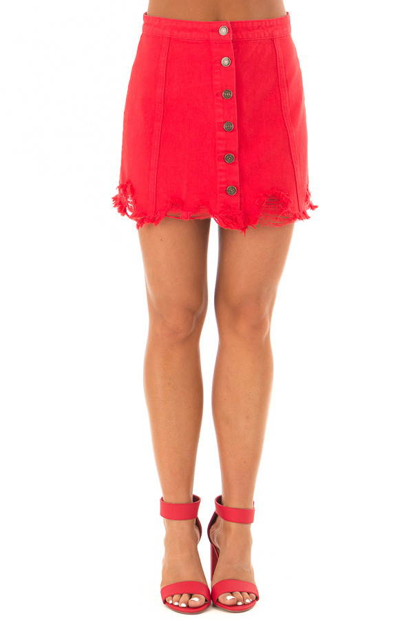 Candy Red Denim Button Up Mini Skirt with Distressed Hem front view