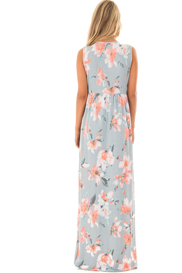 Dusty Blue Floral Print V Neck Maxi Dress back full body