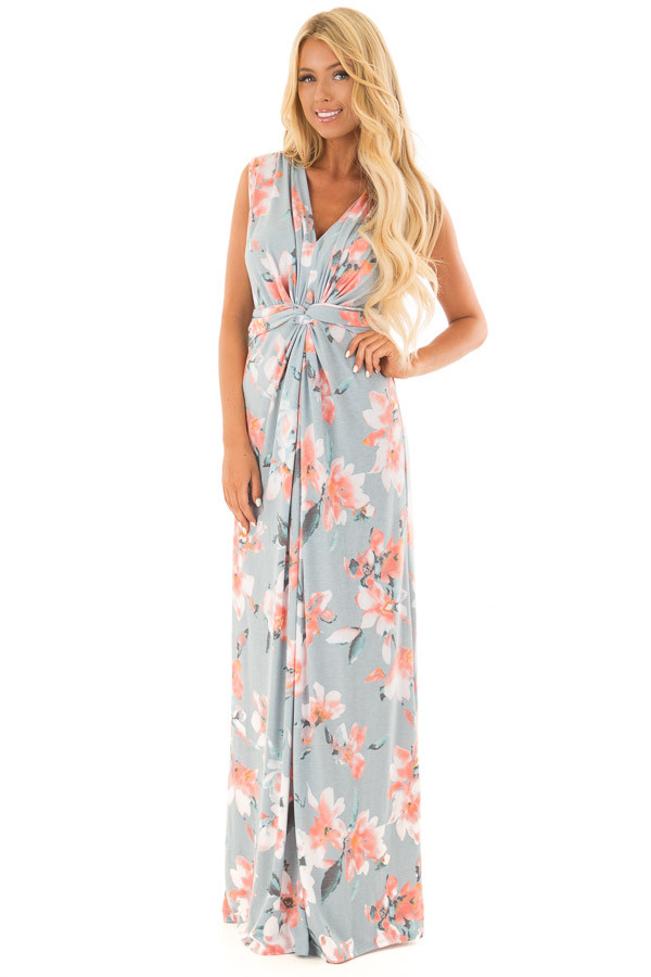 Dusty Blue Floral Print V Neck Maxi Dress front full body