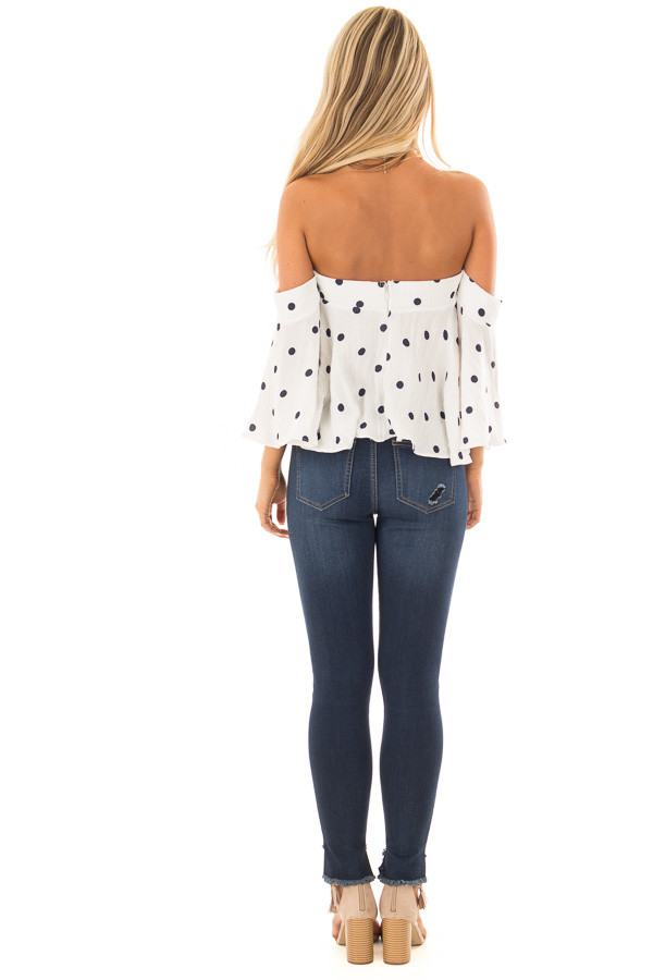 Off White and Navy Polka Dot Off the Shoulder Crop Top back full body