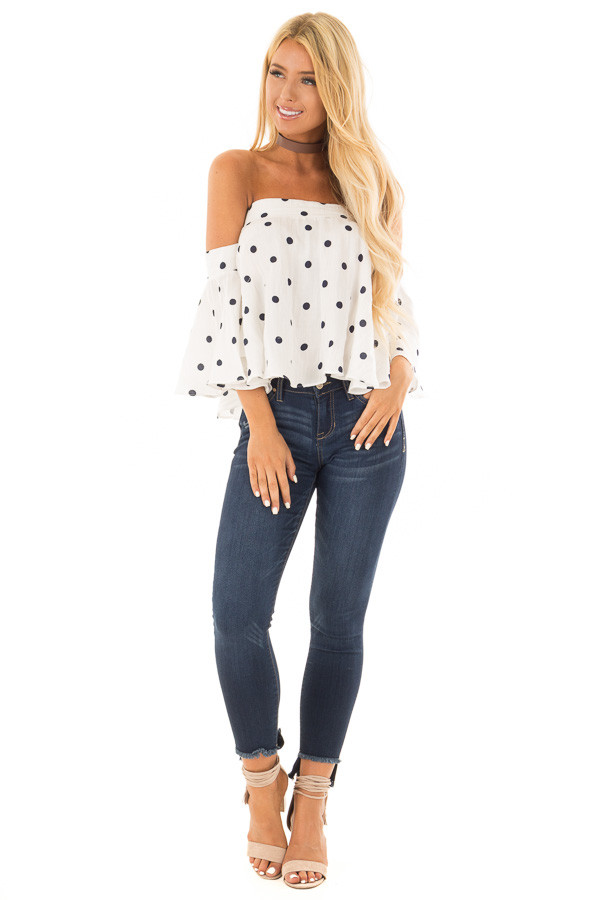 Off White and Navy Polka Dot Off the Shoulder Crop Top front full body