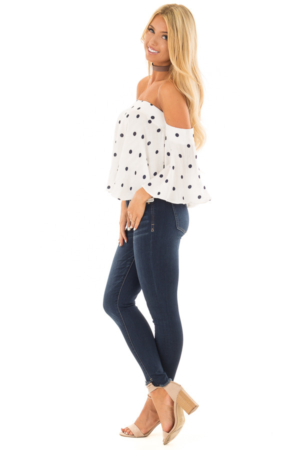 Off White and Navy Polka Dot Off the Shoulder Crop Top side full body