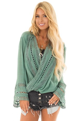 Jade Long Sleeve Surplice Top with Crochet Detail front close up