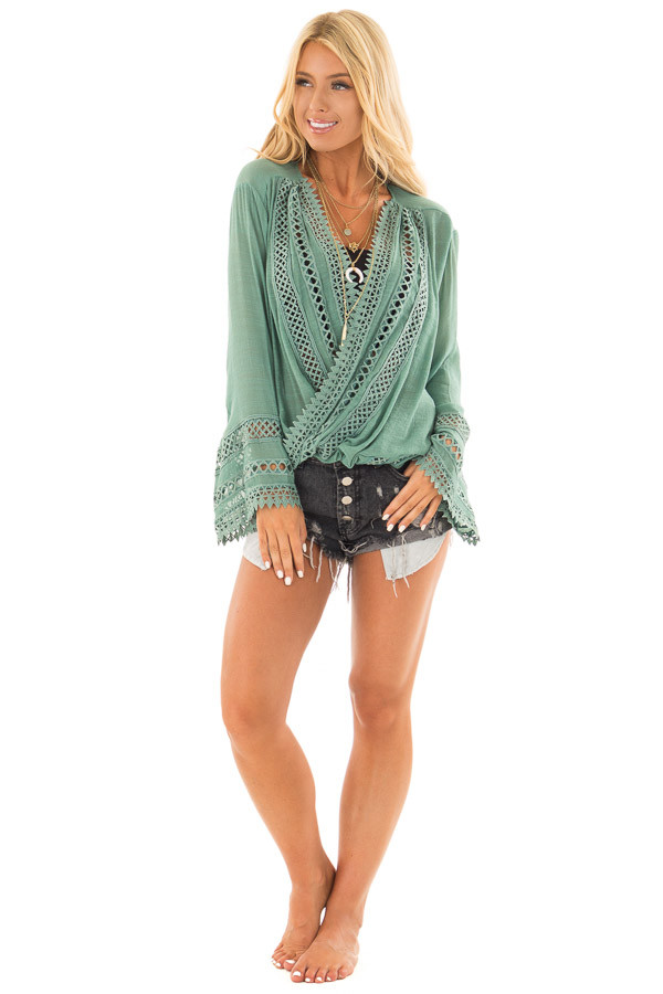Jade Long Sleeve Surplice Top with Crochet Detail front full body