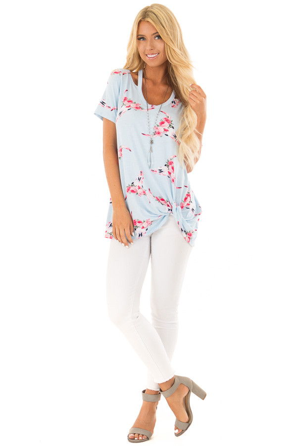 Sky Blue Floral Skull Print Tee with Neckline Cut Outs front full body