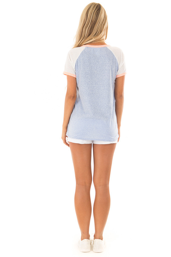 Powder Blue Tee with White Raglan Sleeves and Peach Details back full body