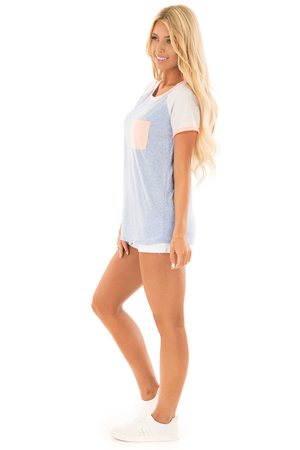 Powder Blue Tee with White Raglan Sleeves and Peach Details side full body