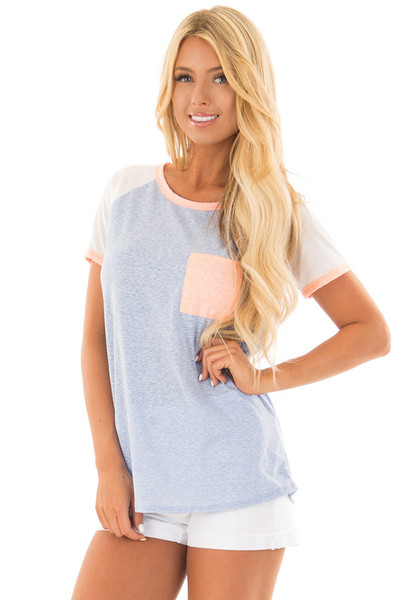 Powder Blue Tee with White Raglan Sleeves and Peach Details front close up