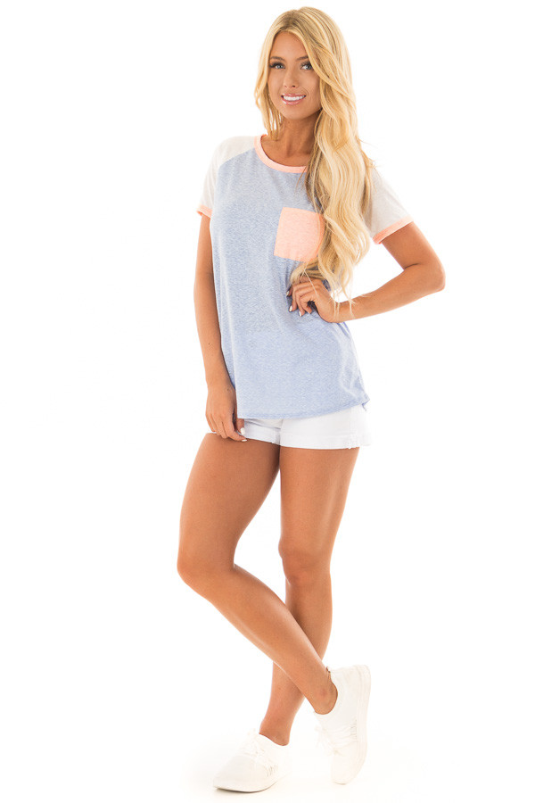 Powder Blue Tee with White Raglan Sleeves and Peach Details front full body