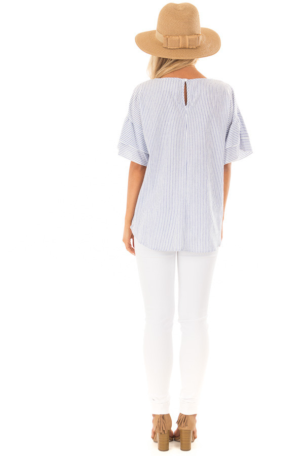 Off White and Denim Striped Top with Layered Sleeves back full body