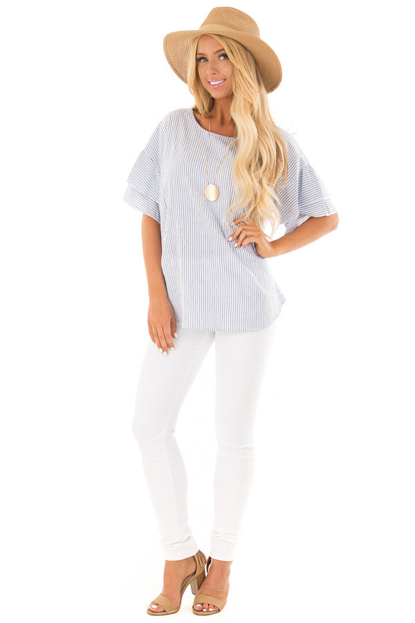 Off White and Denim Striped Top with Layered Sleeves front full body