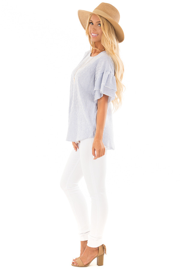 Off White and Denim Striped Top with Layered Sleeves side full body