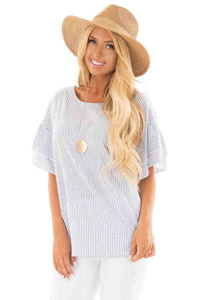 Off White and Denim Striped Top with Layered Sleeves front close up