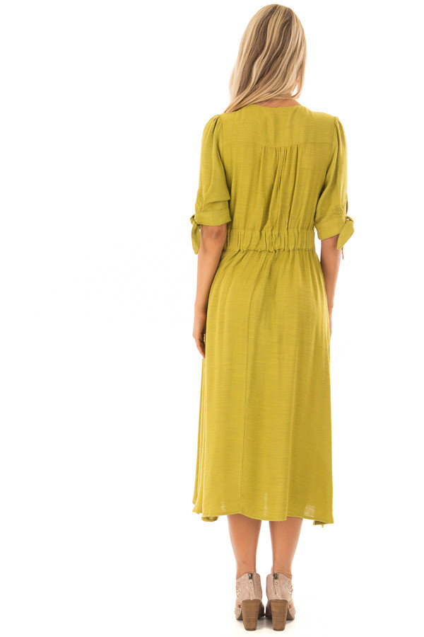 Avocado Button Down Dress with Tie Sleeve Detail back full body