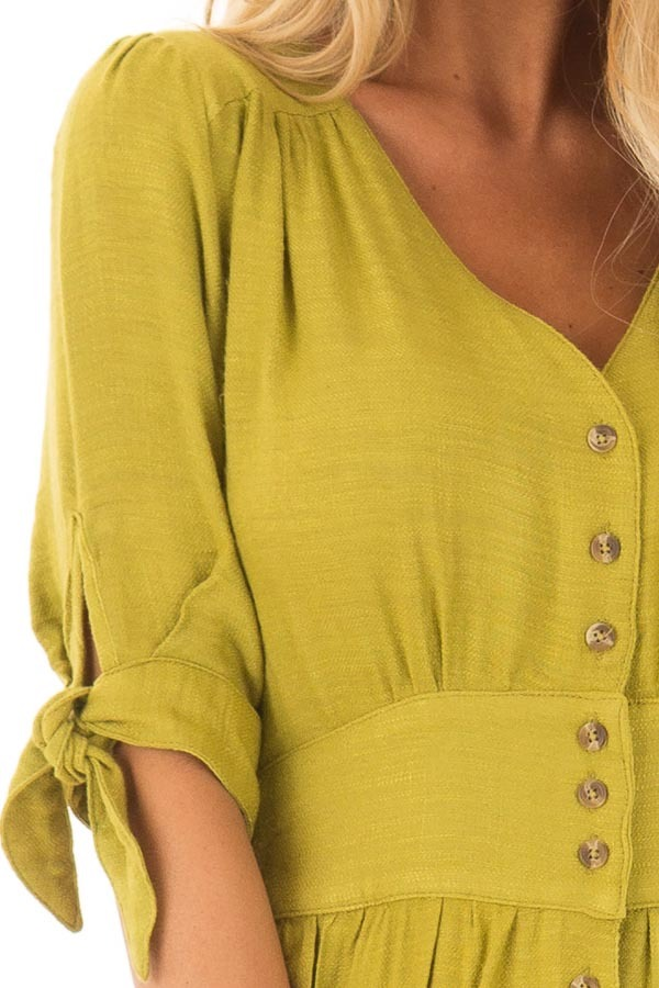 Avocado Button Down Dress with Tie Sleeve Detail detail